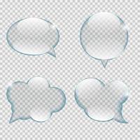 Ilustración de vector de burbuja de discurso de transparencia de vidrio