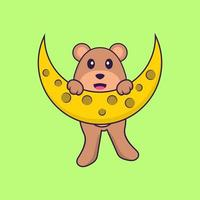 Cute bear is on the moon. Animal cartoon concept isolated. Can used for t-shirt, greeting card, invitation card or mascot. Flat Cartoon Style vector