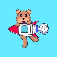 Cute bear flying on rocket. Animal cartoon concept isolated. Can used for t-shirt, greeting card, invitation card or mascot. Flat Cartoon Style vector
