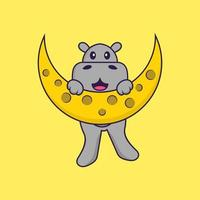 Cute hippopotamus is on the moon. Animal cartoon concept isolated. Can used for t-shirt, greeting card, invitation card or mascot. Flat Cartoon Style vector