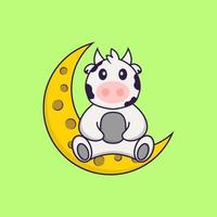 Cute cow is sitting on the moon. Animal cartoon concept isolated. Can used for t-shirt, greeting card, invitation card or mascot. Flat Cartoon Style vector