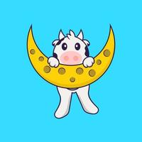 Cute cow is on the moon. Animal cartoon concept isolated. Can used for t-shirt, greeting card, invitation card or mascot. Flat Cartoon Style vector