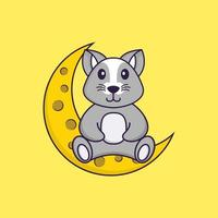 Cute rat is sitting on the moon. Animal cartoon concept isolated. Can used for t-shirt, greeting card, invitation card or mascot. Flat Cartoon Style vector