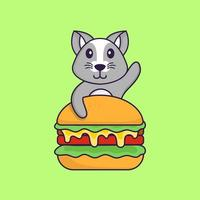 Cute rat eating burger. Animal cartoon concept isolated. Can used for t-shirt, greeting card, invitation card or mascot. Flat Cartoon Style vector