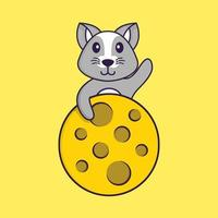 Cute rat is on the moon. Animal cartoon concept isolated. Can used for t-shirt, greeting card, invitation card or mascot. Flat Cartoon Style vector