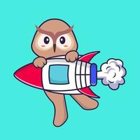Cute owl flying on rocket. Animal cartoon concept isolated. Can used for t-shirt, greeting card, invitation card or mascot. Flat Cartoon Style vector
