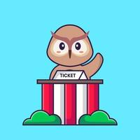 Cute owl is being a ticket keeper. Animal cartoon concept isolated. Can used for t-shirt, greeting card, invitation card or mascot. Flat Cartoon Style vector