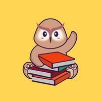 Cute owl reading a book. Animal cartoon concept isolated. Can used for t-shirt, greeting card, invitation card or mascot. flat cartoon style vector