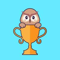 Cute owl with gold trophy. Animal cartoon concept isolated. Can used for t-shirt, greeting card, invitation card or mascot. Flat Cartoon Style vector