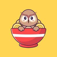 Cute owl eating ramen noodles. Animal cartoon concept isolated. Can used for t-shirt, greeting card, invitation card or mascot. Flat Cartoon Style vector