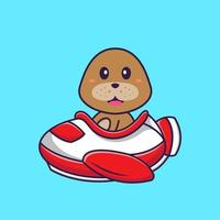 Cute dog flying on a plane. Animal cartoon concept isolated. Can used for t-shirt, greeting card, invitation card or mascot. Flat Cartoon Style vector