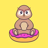 Cute owl is sitting on donuts. Animal cartoon concept isolated. Can used for t-shirt, greeting card, invitation card or mascot. Flat Cartoon Style vector