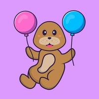 Cute dog flying with two balloons. Animal cartoon concept isolated. Can used for t-shirt, greeting card, invitation card or mascot. Flat Cartoon Style vector