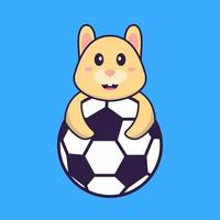 Cute rabbit playing soccer. Animal cartoon concept isolated. Can used for t-shirt, greeting card, invitation card or mascot. Flat Cartoon Style vector