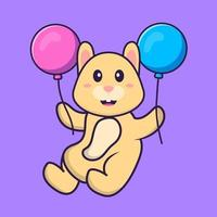 Cute rabbit flying with two balloons. Animal cartoon concept isolated. Can used for t-shirt, greeting card, invitation card or mascot. Flat Cartoon Style vector