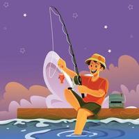 Fishing Till Dawn vector