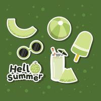 Summer Foods Melon Fruits Sticker vector