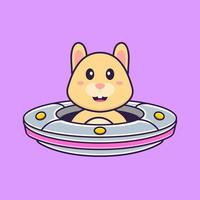 Cute rabbit Driving Spaceship Ufo. Animal cartoon concept isolated. Can used for t-shirt, greeting card, invitation card or mascot. Flat Cartoon Style vector