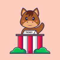 lindo caballo es un poseedor de boletos. aislado concepto de dibujos animados de animales. Puede utilizarse para camiseta, tarjeta de felicitación, tarjeta de invitación o mascota. estilo de dibujos animados plana vector
