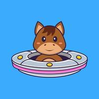 lindo caballo conduciendo nave espacial ovni. aislado concepto de dibujos animados de animales. Puede utilizarse para camiseta, tarjeta de felicitación, tarjeta de invitación o mascota. estilo de dibujos animados plana vector