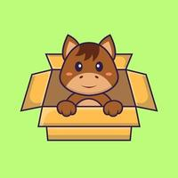 Cute horse Playing In Box. Animal cartoon concept isolated. Can used for t-shirt, greeting card, invitation card or mascot. Flat Cartoon Style vector