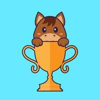 lindo caballo con trofeo de oro. aislado concepto de dibujos animados de animales. Puede utilizarse para camiseta, tarjeta de felicitación, tarjeta de invitación o mascota. estilo de dibujos animados plana vector