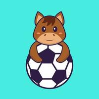 Cute horse playing soccer. Animal cartoon concept isolated. Can used for t-shirt, greeting card, invitation card or mascot. Flat Cartoon Style vector