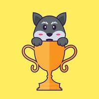 Cute fox with gold trophy. Animal cartoon concept isolated. Can used for t-shirt, greeting card, invitation card or mascot. Flat Cartoon Style vector
