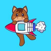 lindo caballo volando en cohete. aislado concepto de dibujos animados de animales. Puede utilizarse para camiseta, tarjeta de felicitación, tarjeta de invitación o mascota. estilo de dibujos animados plana vector