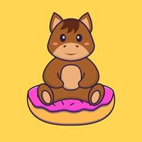 Cute horse is sitting on donuts. Animal cartoon concept isolated. Can used for t-shirt, greeting card, invitation card or mascot. Flat Cartoon Style vector