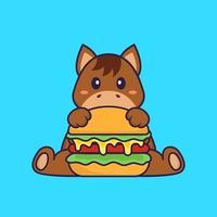lindo caballo comiendo hamburguesa. aislado concepto de dibujos animados de animales. Puede utilizarse para camiseta, tarjeta de felicitación, tarjeta de invitación o mascota. estilo de dibujos animados plana vector