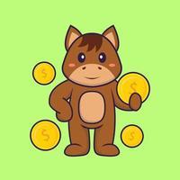 lindo caballo con moneda. aislado concepto de dibujos animados de animales. Puede utilizarse para camiseta, tarjeta de felicitación, tarjeta de invitación o mascota. estilo de dibujos animados plana vector