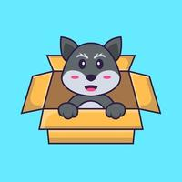 Cute fox Playing In Box. Animal cartoon concept isolated. Can used for t-shirt, greeting card, invitation card or mascot. Flat Cartoon Style vector
