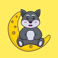 Cute fox is sitting on the moon. Animal cartoon concept isolated. Can used for t-shirt, greeting card, invitation card or mascot. Flat Cartoon Style vector