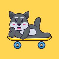 Cute fox lying on a skateboard. Animal cartoon concept isolated. Can used for t-shirt, greeting card, invitation card or mascot. Flat Cartoon Style vector