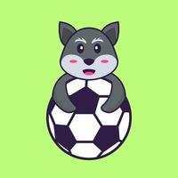 Cute fox playing soccer. Animal cartoon concept isolated. Can used for t-shirt, greeting card, invitation card or mascot. Flat Cartoon Style vector