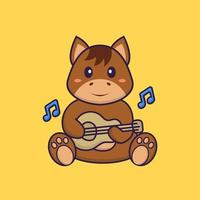 Cute horse playing guitar. Animal cartoon concept isolated. Can used for t-shirt, greeting card, invitation card or mascot. Flat Cartoon Style vector