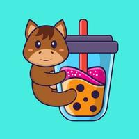 Cute horse Drinking Boba milk tea. Animal cartoon concept isolated. Can used for t-shirt, greeting card, invitation card or mascot. Flat Cartoon Style vector
