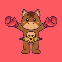 Cute horse in boxer costume with champion belt. Animal cartoon concept isolated. Can used for t-shirt, greeting card, invitation card or mascot. Flat Cartoon Style vector