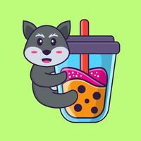 Cute fox Drinking Boba milk tea. Animal cartoon concept isolated. Can used for t-shirt, greeting card, invitation card or mascot. Flat Cartoon Style vector