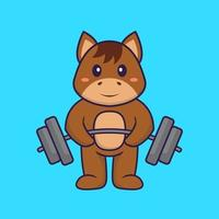 Cute horse lifts the barbell. Animal cartoon concept isolated. Can used for t-shirt, greeting card, invitation card or mascot. Flat Cartoon Style vector