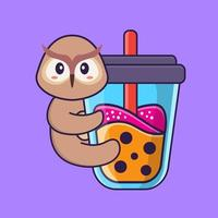 Cute owl Drinking Boba milk tea. Animal cartoon concept isolated. Can used for t-shirt, greeting card, invitation card or mascot. Flat Cartoon Style vector