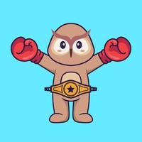 Cute owl in boxer costume with champion belt. Animal cartoon concept isolated. Can used for t-shirt, greeting card, invitation card or mascot. Flat Cartoon Style vector
