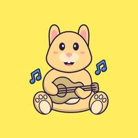 Cute rabbit playing guitar. Animal cartoon concept isolated. Can used for t-shirt, greeting card, invitation card or mascot. Flat Cartoon Style vector
