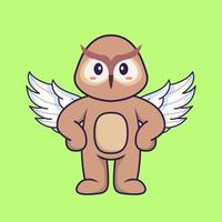 Cute owl using wings. Animal cartoon concept isolated. Can used for t-shirt, greeting card, invitation card or mascot. Flat Cartoon Style vector