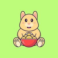 Cute rabbit eating ramen noodles. Animal cartoon concept isolated. Can used for t-shirt, greeting card, invitation card or mascot. Flat Cartoon Style vector