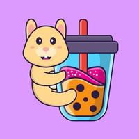 Cute rabbit Drinking Boba milk tea. Animal cartoon concept isolated. Can used for t-shirt, greeting card, invitation card or mascot. Flat Cartoon Style vector