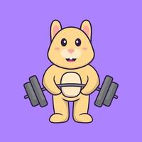 Cute rabbit lifts the barbell. Animal cartoon concept isolated. Can used for t-shirt, greeting card, invitation card or mascot. Flat Cartoon Style vector