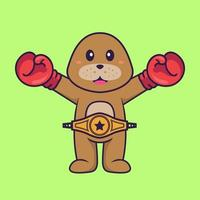 Cute dog in boxer costume with champion belt. Animal cartoon concept isolated. Can used for t-shirt, greeting card, invitation card or mascot. Flat Cartoon Style vector