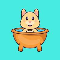 Cute rabbit taking a bath in the bathtub. Animal cartoon concept isolated. Can used for t-shirt, greeting card, invitation card or mascot. Flat Cartoon Style vector